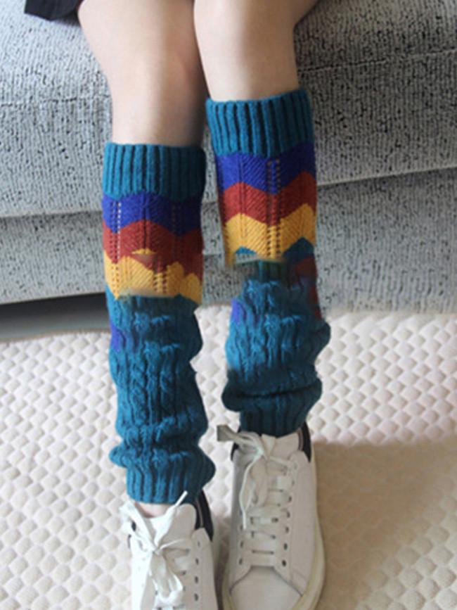 Women Fashion Hollow Leg Warmers Knitted Woolen Legwarmers Boot Cuffs
