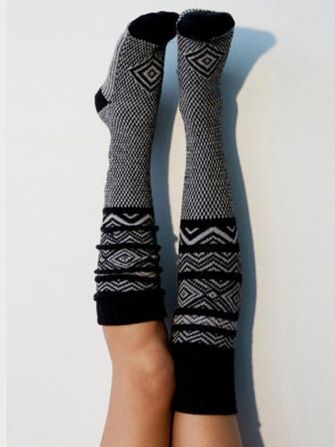 Ladies Turn Up Wool Blend Long Knee High Sockings Winter Warm