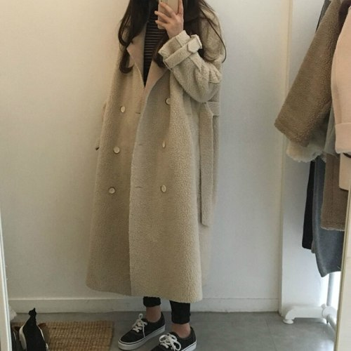 Women Winter Vintage Lamb Wool Double Breasted Overcoat Sashes Cloak