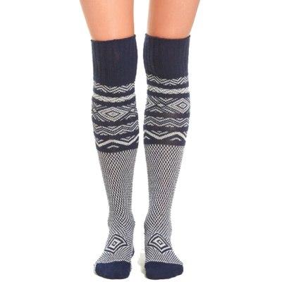 Ladies Turn Up Wool Blend Long Knee High Sockings Winter Warm