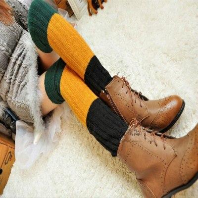 Women Winter Over Knee Long Knit Crochet Leg Warmers