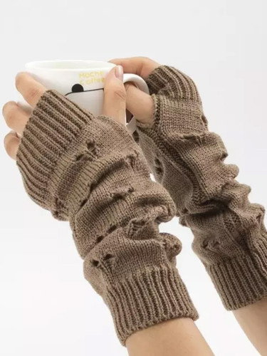 Warmer Winter Gloves Women Arm Crochet Knitting Hollow Heart Mitten Warm Fingerless Gloves