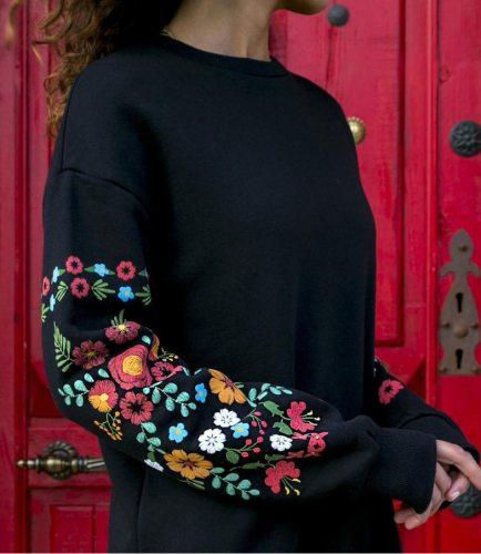 Autumn Winter Women  Print Knitted Sweater Dress