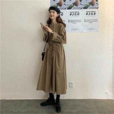 Women Vintage Autumn Full Sleeve Elastic Waist Long Shirt Dress