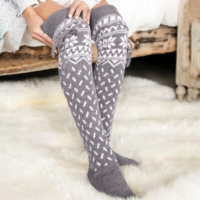 Knit Over Knee Socks Christmas Winter Thigh High Long Stockings