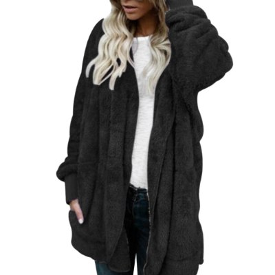 Cardigans Women Autumn Long Sleeve Coat Winter Women Color Faux Fur Hooded Coat