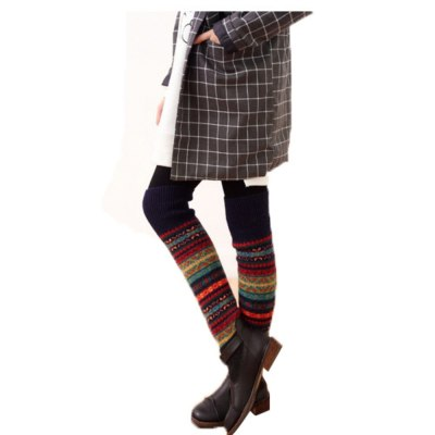 Women Crochet Knitted Long Leg Warmers Spring Patchwork Knee High Warm Boot Socks
