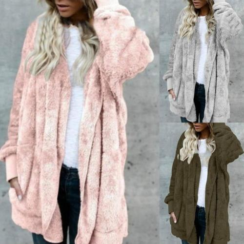Cardigans Women Autumn Long Sleeve Coat Winter Women Color Faux Fur Hooded Coat