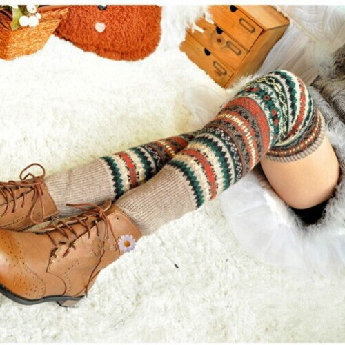Women Crochet Knitted Long Leg Warmers Spring Patchwork Knee High Warm Boot Socks