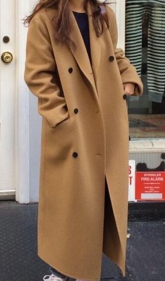 Women Autumn Winter Double Breasted Long Wool Coat Ladies Long Sleeve Vintage