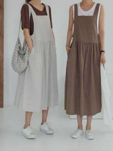 Women Dress Cotton Linen Ladies Tank Sleeveless  Robe Pockets Clothes