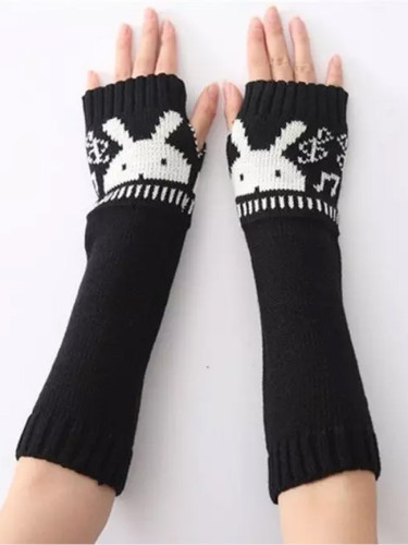 Autumn / Winter New Rabbit Head Gloves Fingerless Woolen Warm Gloves for Men and Women Knitted Half-finger Arm Sets