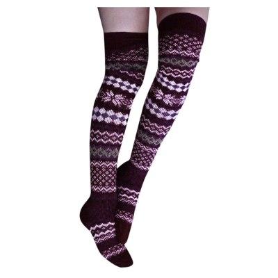 Women Cotton Christmas Warm Thigh High Long Stockings print Knit Over Knee Socks