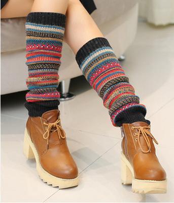 Women Winter Warm Leg Warmers Wool Knitting High Knee Socks