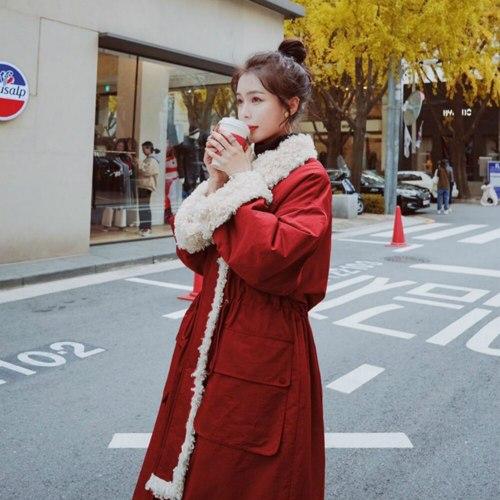 Women Winter Lamb Wool Liner Thicken Full Sleeve Big Pocket Coat
