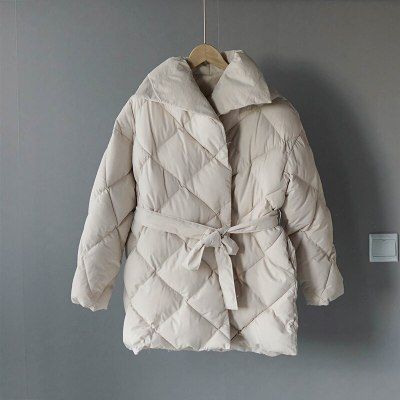 Winter Coat Women Double Breasted Lace Up Cotton-padded Clothes Warm Outwear