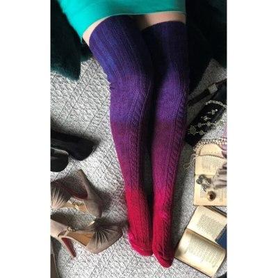 Knitted Long Socks Women New Fashion Knee Socks Women Winter Beige