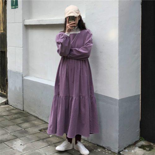 Women Corduroy Loose Purple Pullover Vintage Out Wear Maxi Dresses