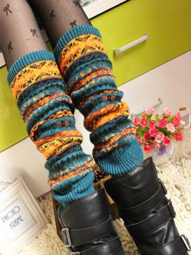Gaiters Camouflage Woolen Leg Warmers Womens Knee High Socks