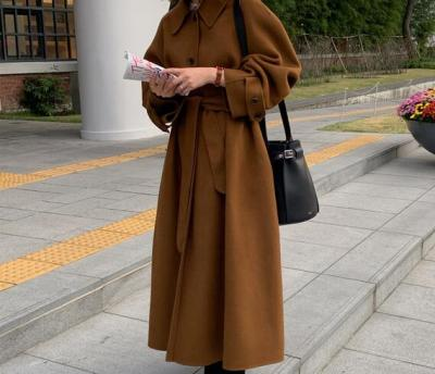Women Vintage Winter Single Breasted Woolen Overcoat Sashes Cardigan Outerwear
