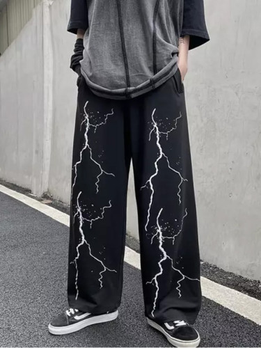Women's Dark Lightning Print Casual Pants