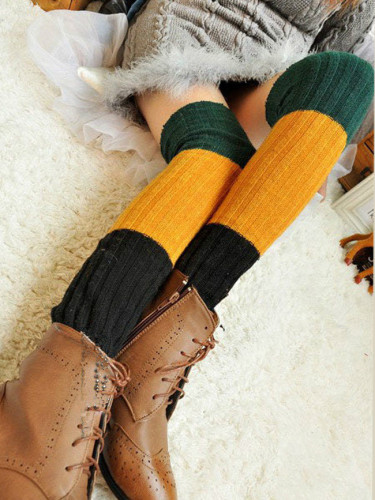 Women Winter Over Knee Long Knit Crochet Leg Warmers