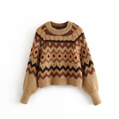 Women Casual O-neck Printed Sweater Spring Long Sleeve Vintage Pullover Tops