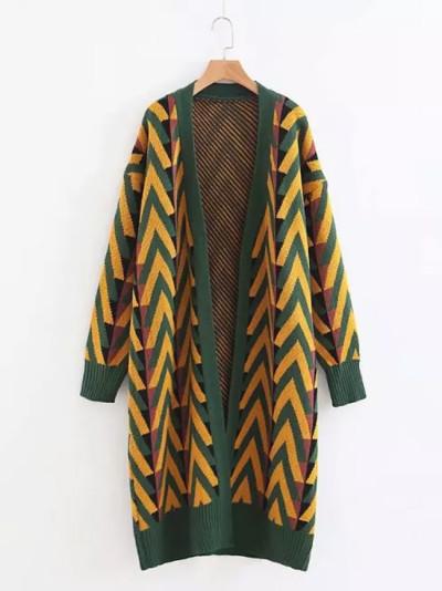 Women Autumn Winter Long Sweater Jacket Geometric Knit Cardigans