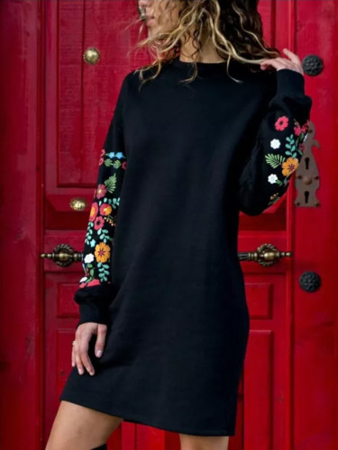 Autumn Winter Women  Print Knitted Sweater Dress
