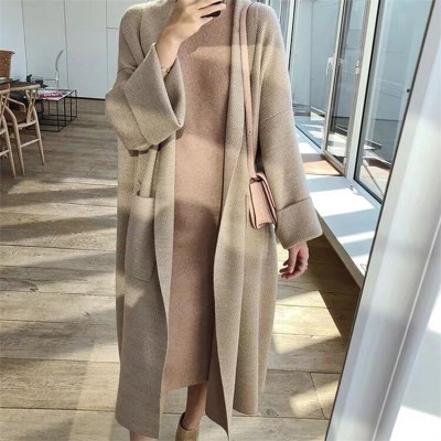 Autumn Winter Women's Loose Sweaters Casual Long Knitted Cardigans Coat