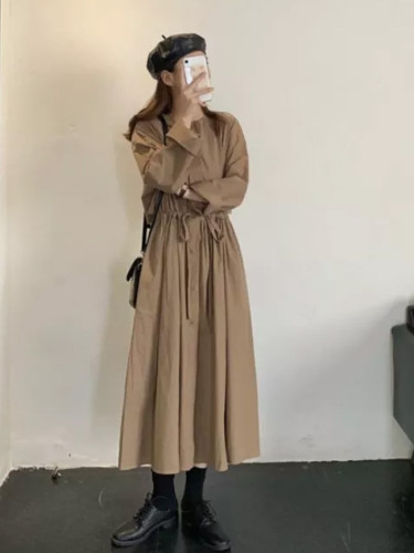 Women Vintage Autumn Full Sleeve Elastic Waist Long Shirt Dress