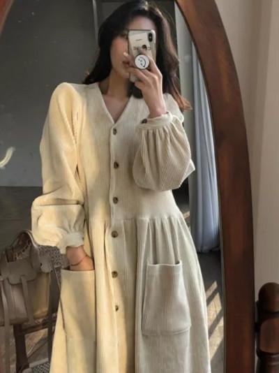 Autumn Winter Vintage Long Dress Elegant Full Sleeve Single Breasted Casual Corduroy Dress