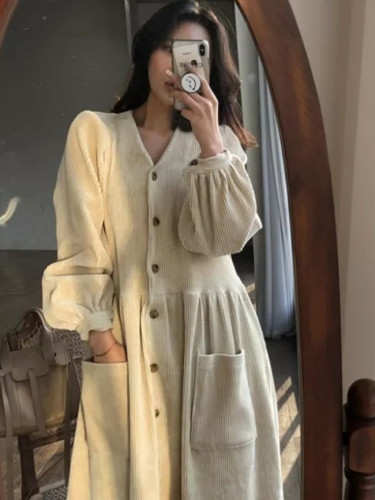 Autumn Winter Vintage Long Dress Elegant Full Sleeve Single Breasted Casual Corduroy Dress