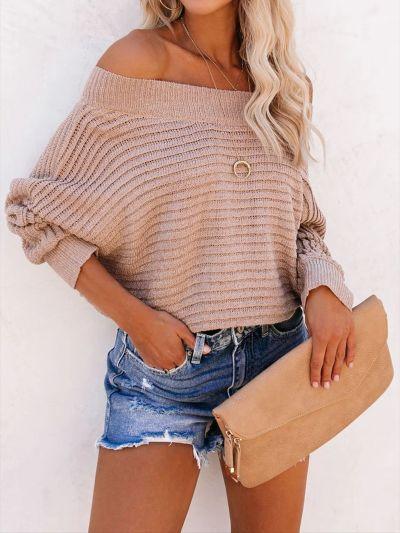 Sweater Women's Bat Sleeve Off Shoulder Sweater Pullover