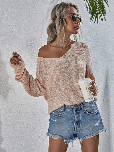 Women Sweaters Vintage Knitted Pullover Knitwear Holiday Slim Long Sleeve