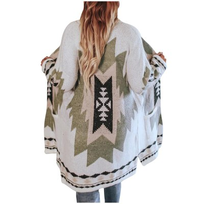 Women Christmas Print Sweater Coat Winter Vintage Knitted Cardigan Overcoat
