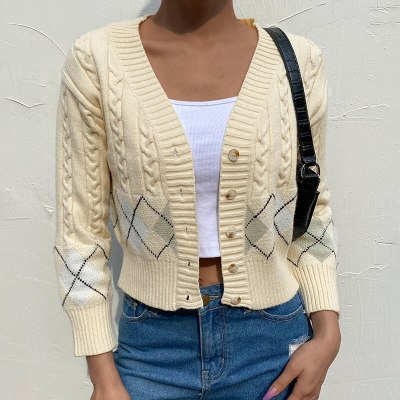 Yellow Y2K Cropped Cardigan Women Autumn Casual Knitted V Neck Vintage Jumper