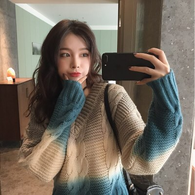 Women Sweater V-neck Gradient Thick Knit Sweater Female Elegant Loose Sweaters