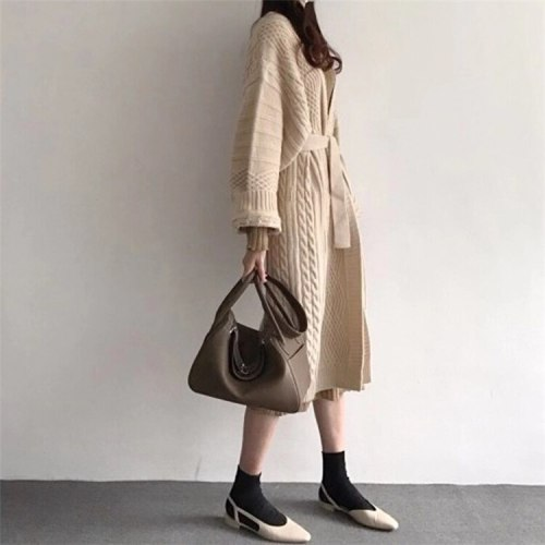 Winter Female Sweater Knitted Long Cardigans Lace Up Casual Elegant Loose Coat