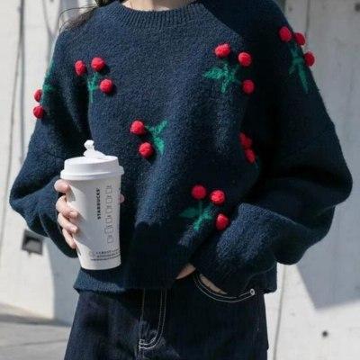 Christmas Sweater New Red Cherry Short Women Sweaters Winter