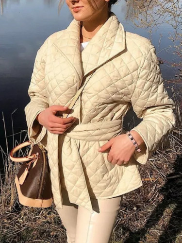 Causual Short Cotton Padded Warm Womens New Belted Autumn Winter Loose Coats