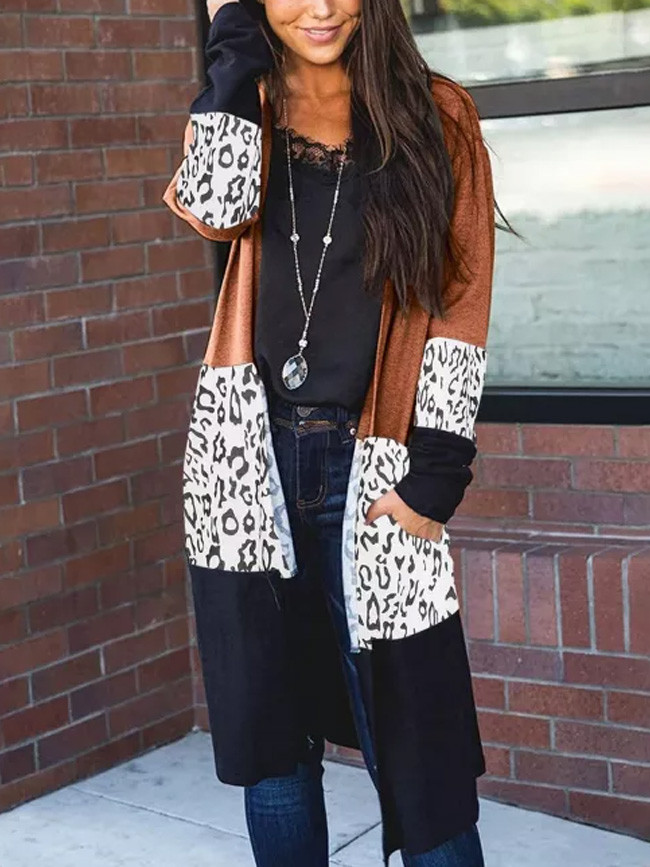 Fashion Women's Leopard Printed Knitted Pocket Casual Long Sleeve Irregular Cardigan Outerwear