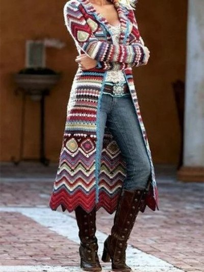 Long Cardigan Women Autumn Winter New Knitted Printing Long Sleeve Loose Sweaters