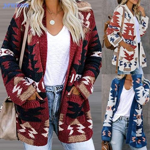 Christmas Winter Women Cardigans Fashion Long Sleeve Sweaters Knit Pockets V-neck Loose Outwear