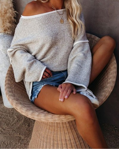 Women's Sweater Pullover Holiday Loose Casual Grey Knitted Sweaters