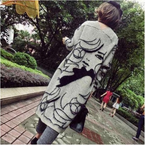 Knitted Long Cardigan Women Autumn Winter Warm Thicken Knitted Sweater