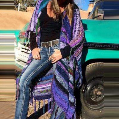 Women Cardigan Knitted Printed Shawl Tassels   New Casual Fashion Sweaters