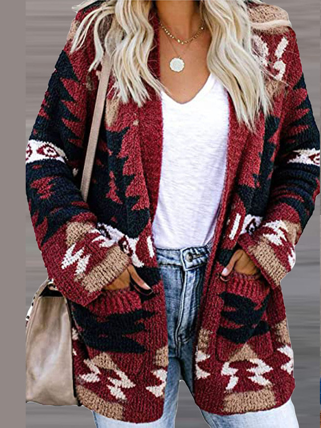 Christmas Winter Women Cardigans Fashion Long Sleeve Sweaters Knit Pockets V-neck Loose Outwear