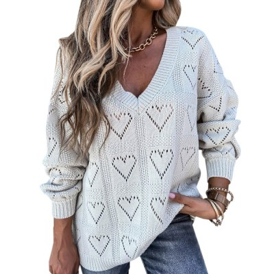 V-neck Lantern Sleeve Solid Color Cardigan Women Knit Fashion Loose Front Button Sweater