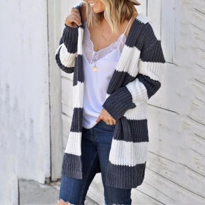 Women Striped Cow Patchwork Casual Knitted Cardigan Lady Loose Oversize Sweater Coat